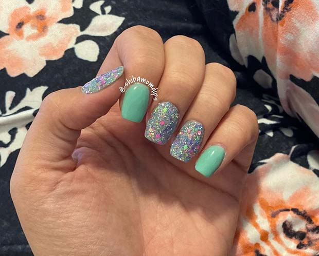 Bright Blue and Silver Glitter Nails