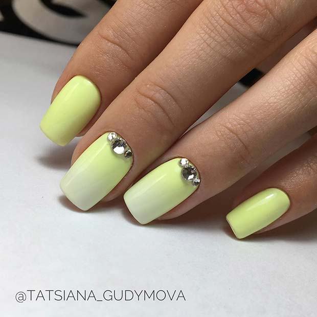 Elegant Ombre Nails with Rhinestones