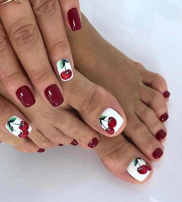 Cherry Manicure and Pedicure Idea