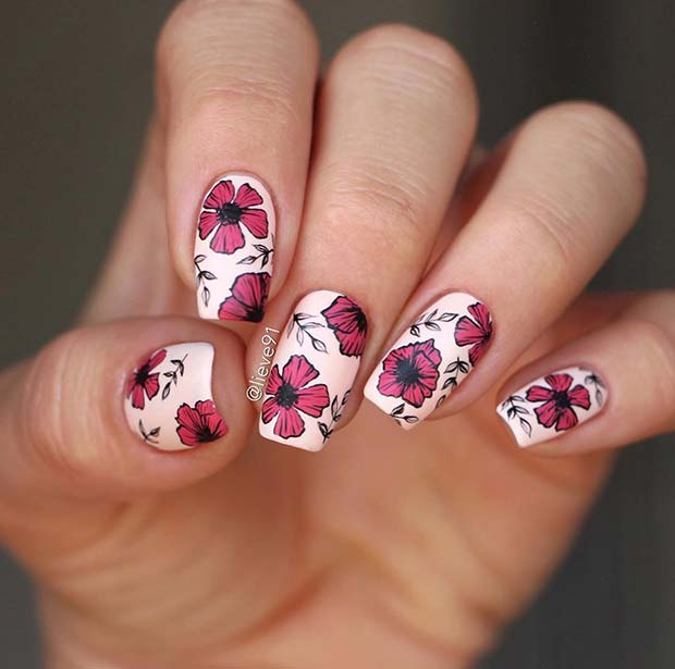 Chic Floral Nail Design