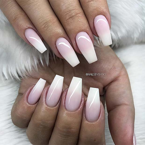 Chic French Ombre Coffin Nails