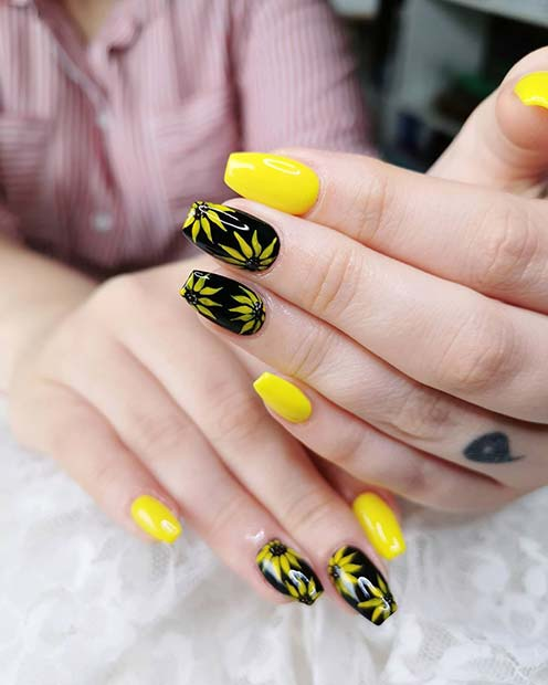 Black and Yellow Sunflower Nails