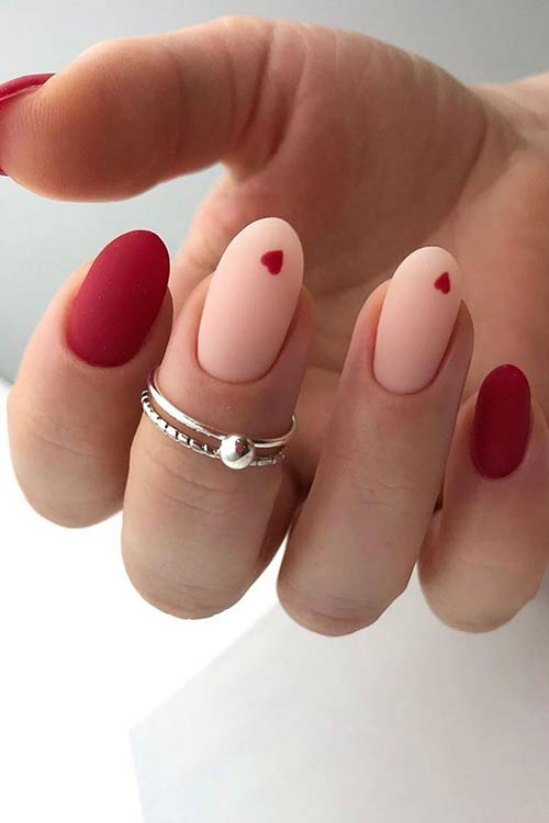 Cute Heart Nail Design for Oval Nails