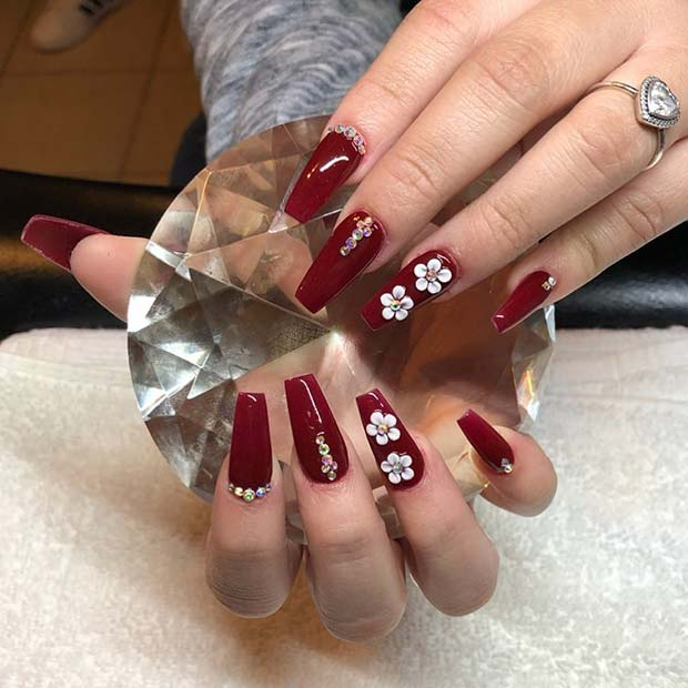 Dark Red Nails with Flowers and Rhinestones