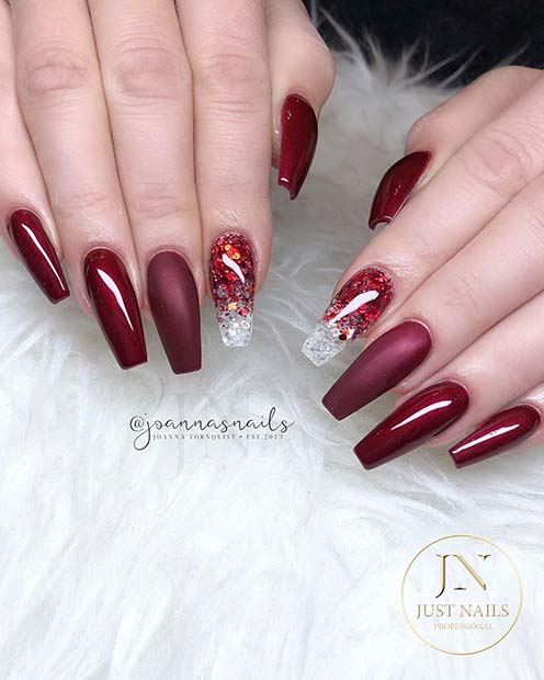 Dark Red and Burgundy Nails
