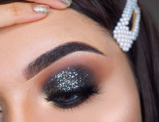 Black Glitter Eye Makeup Look