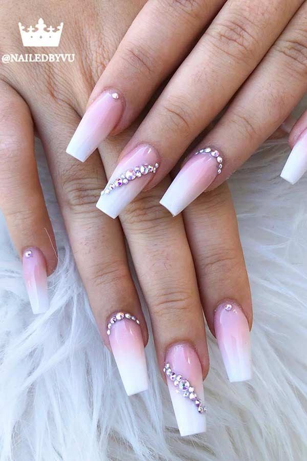Elegant French Ombre Nails with Rhinestones