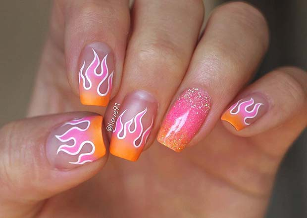 Pink and Orange Flame Nails