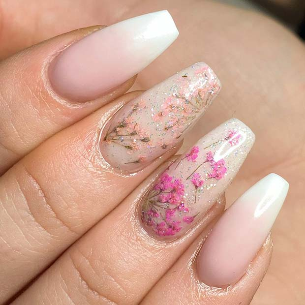 French Ombre Nails with Floral Nail Design