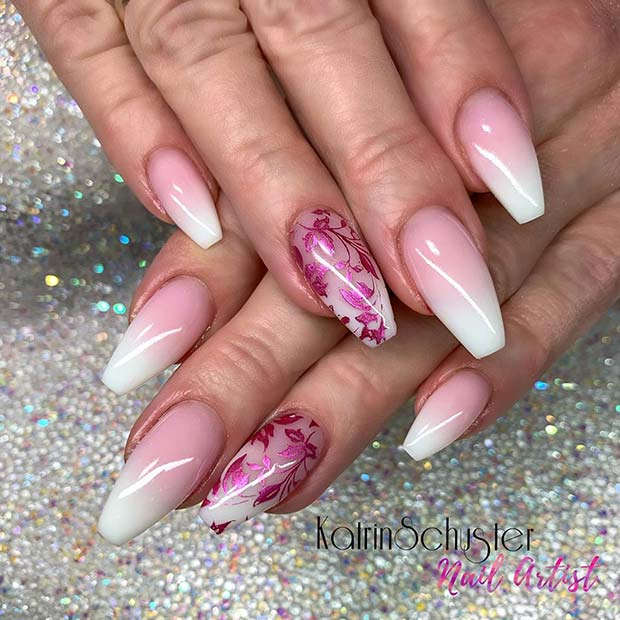 French Ombre Nails with a Glam Accent Nail