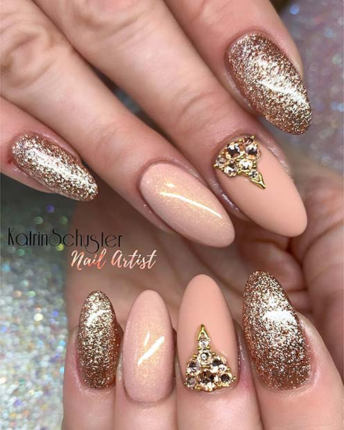 Glam Nude and Gold Nail Design