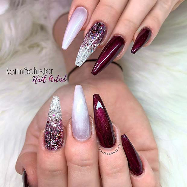 Glam Ombre Nail Design for Coffin Nails