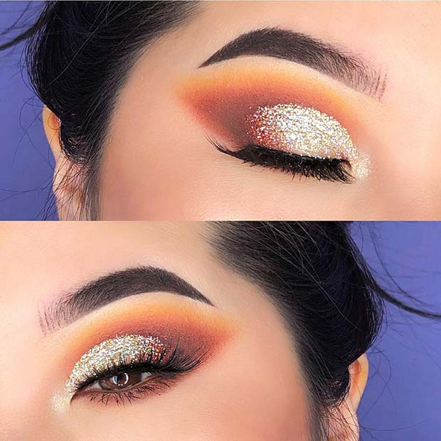 Glam Gold Glitter Eye Makeup