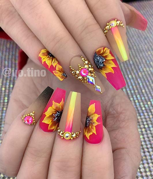 Glam Pink Nail Design with Sunflowers