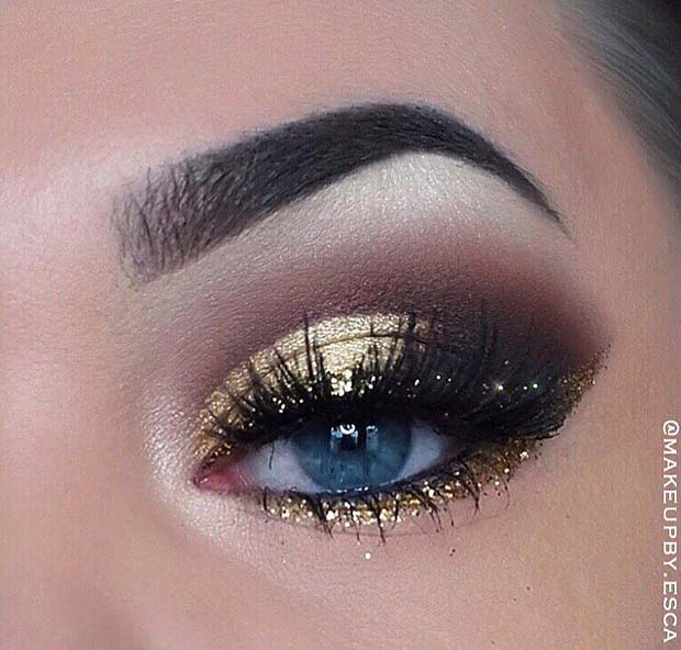 Brown and Gold Eyeshadow Makeup Idea