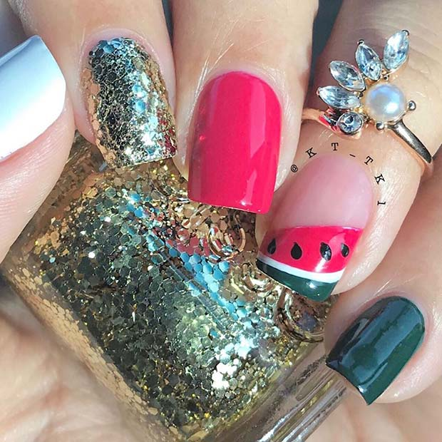 Glitzy Watermelon Nail Design