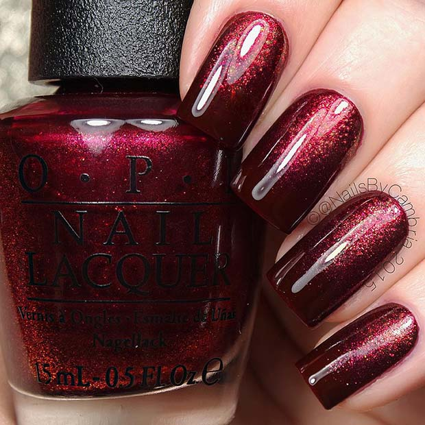 Glitzy Ombre Maroon Nails
