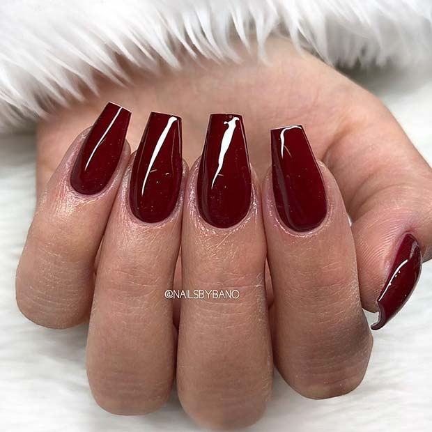 Glossy Maroon Coffin Nails