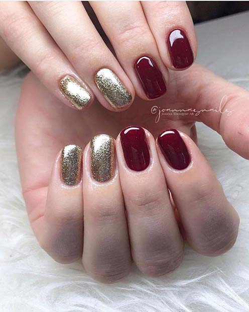 Gold and Maroon Design for Short Nails