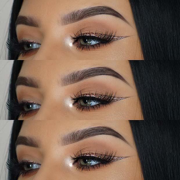 Gorgeous Glitter Eye Liner Look