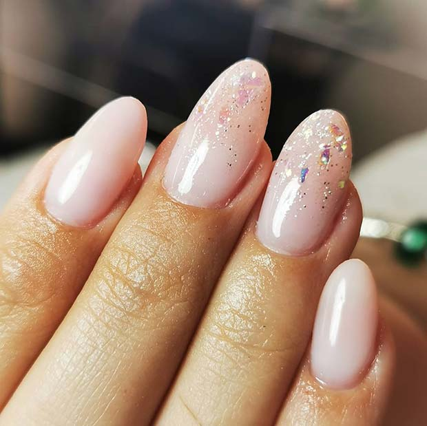 Light Natural Nails with Subtle Glitter