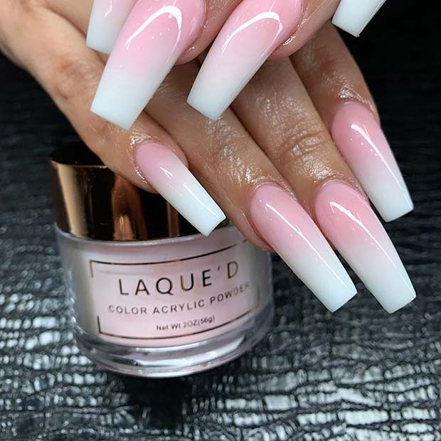 Long French Ombre Nails