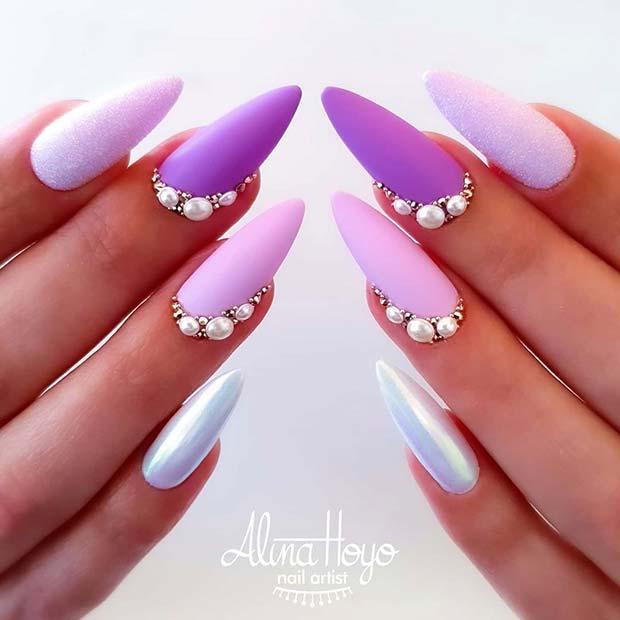 Pretty Purple Nail Art Design
