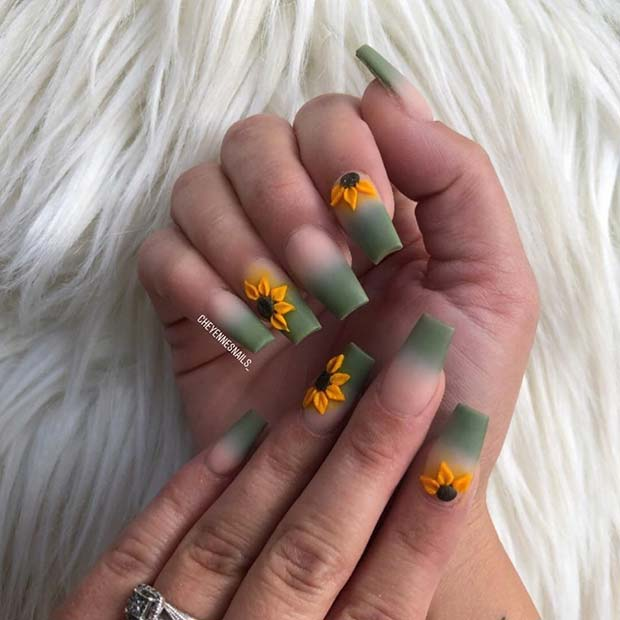 Matte Green Ombre Nails with Sunflowers