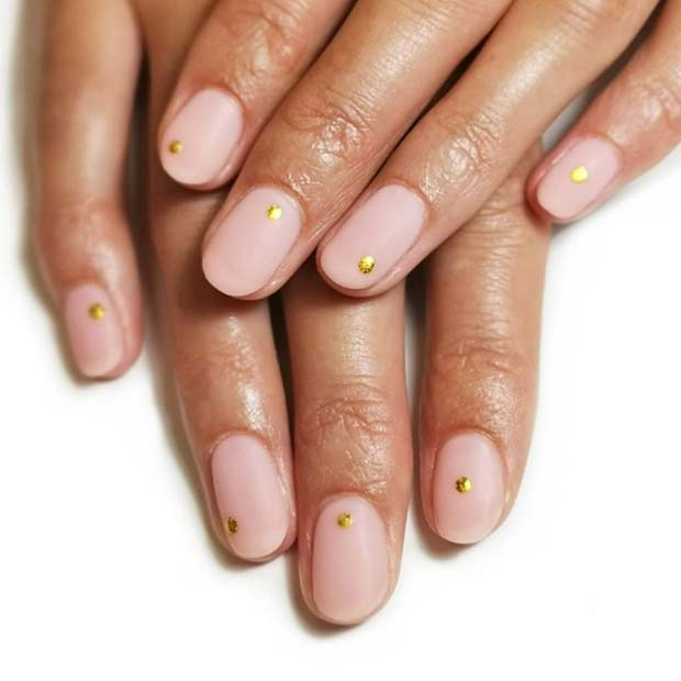 Matte Nude Nails with Gold Dots