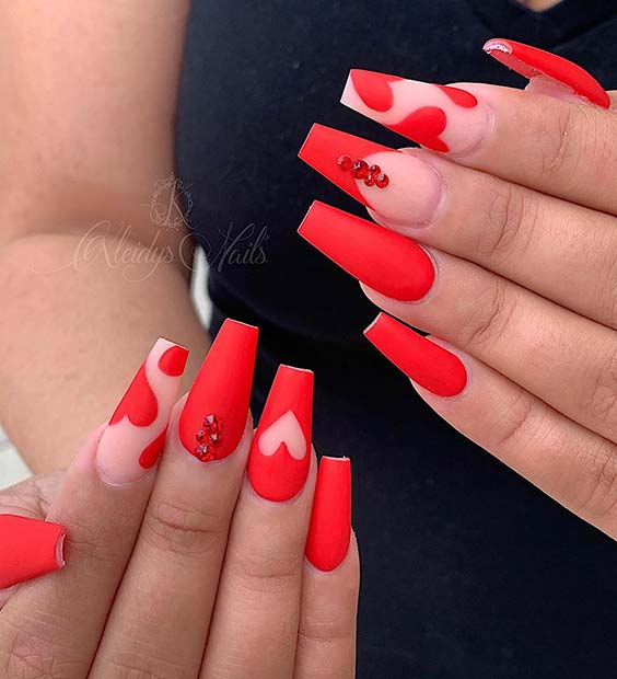 Matte Red Mani with Heart Nail Art