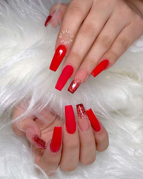 Matte Red with Glitter Ombre