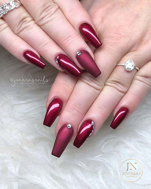 Matte and Glossy Maroon Nails