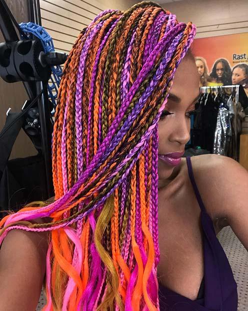 Multi Color Box Braids for Summer