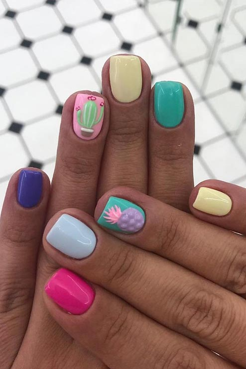 Multi Colored Nail Design for Summer