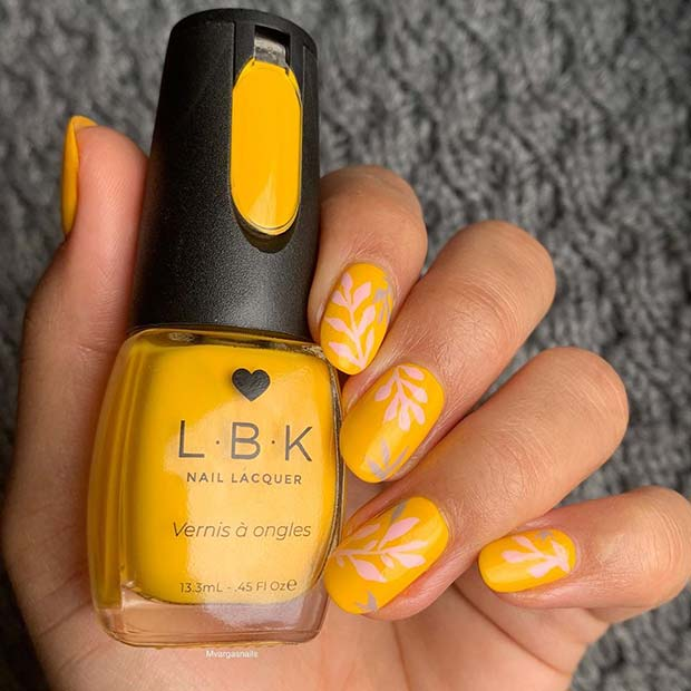 Mustard Yellow Nails with Botanical Art