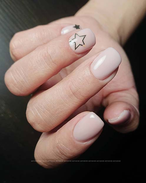Natural Nails with Cute Stars