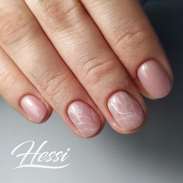 Short Natural Marble Nails