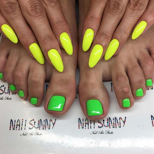Neon Mani Pedi for Summer