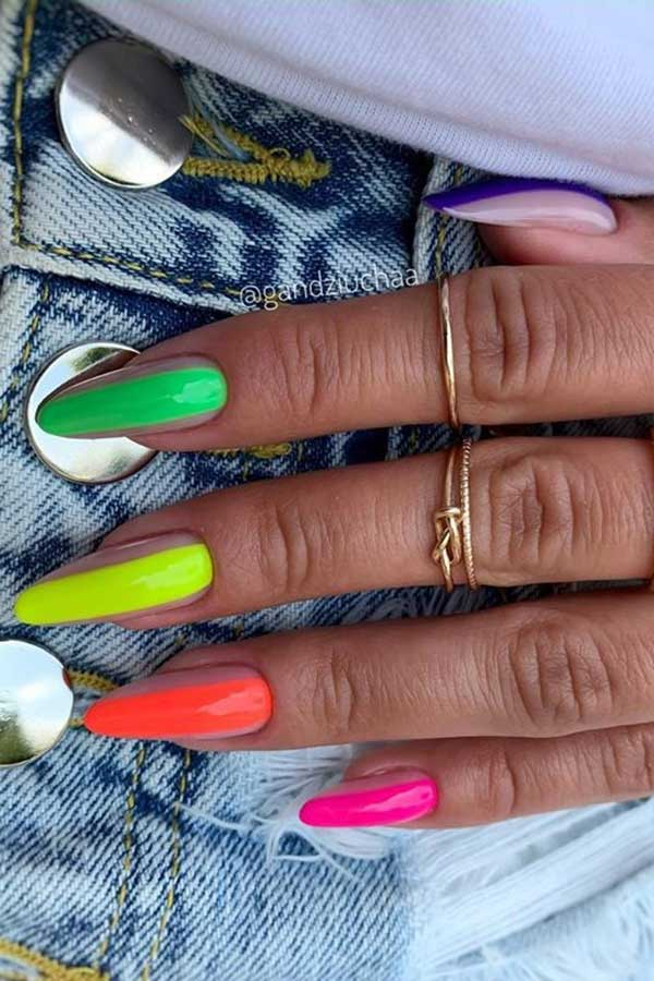 Neon Nail Design for Summer