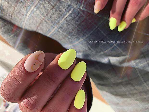 Matte Neon Yellow Nails
