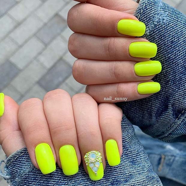 Neon Yellow Nails with Rhinestones