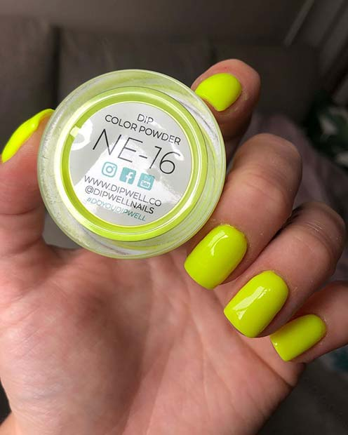 Neon Yellow Dip Nails for Summer