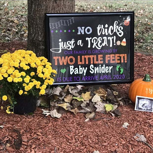No Tricks Just a Treat Pregnancy Announcement