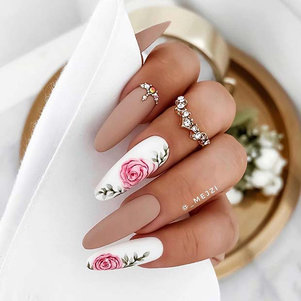 Nude Nails with Elegant Flower Art