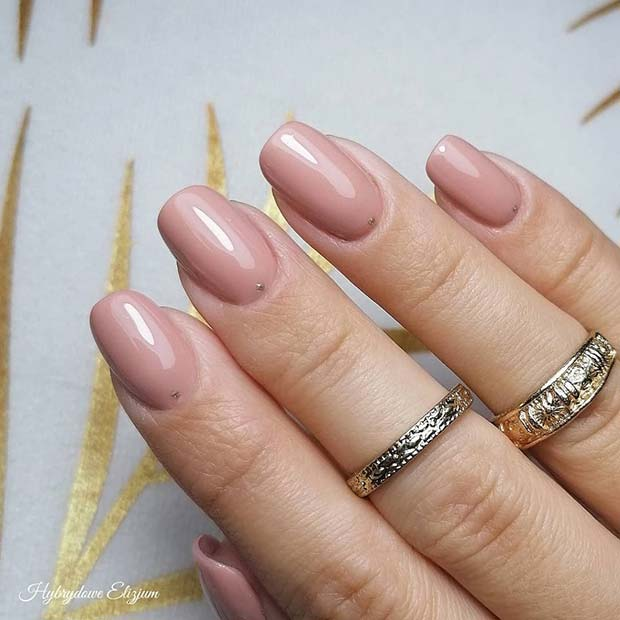 Nude Nails with Subtle Dots