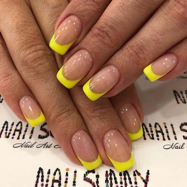 Nude Nails with Neon Yellow Tips