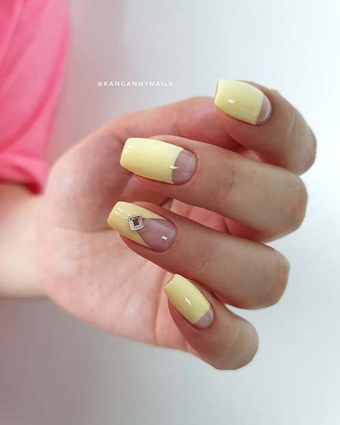 Nude and Pastel Yellow Nails