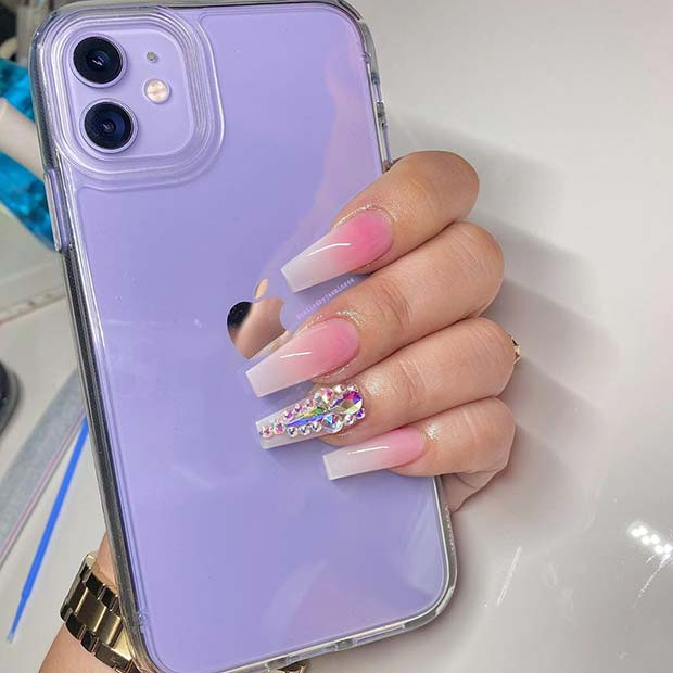 Ombre Nails with Rhinestone Accent Nail