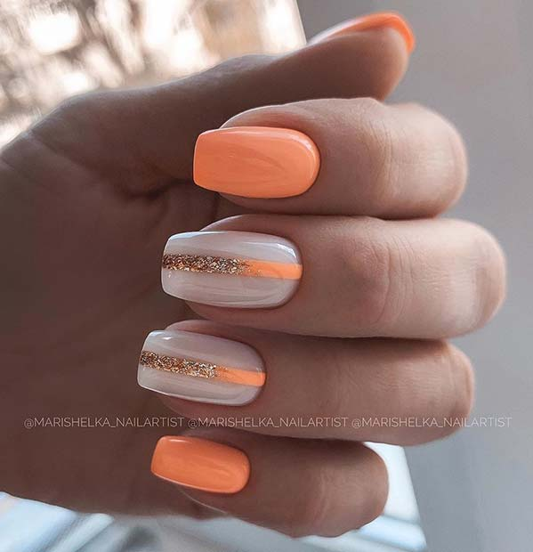 Neon Orange Nails with Ombre Stripes