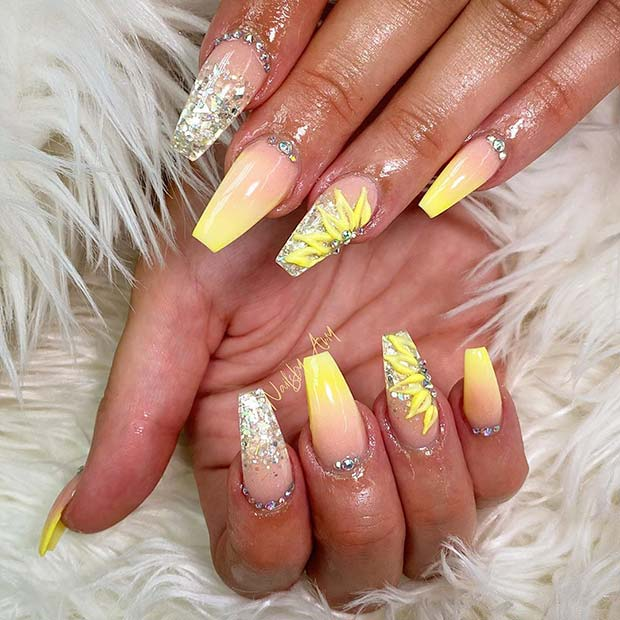 Elegant Nail Design with Rhinestones